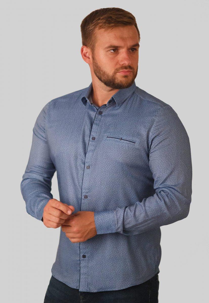 Мужская рубашка Trend Collection 10322 Синий+узор V01