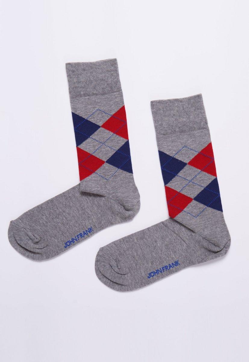 Носки JOHN-FRANK JFLS18W05 Серый+красный+синий ромб