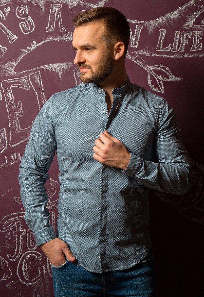 Серая рубашка Trend 02-1096