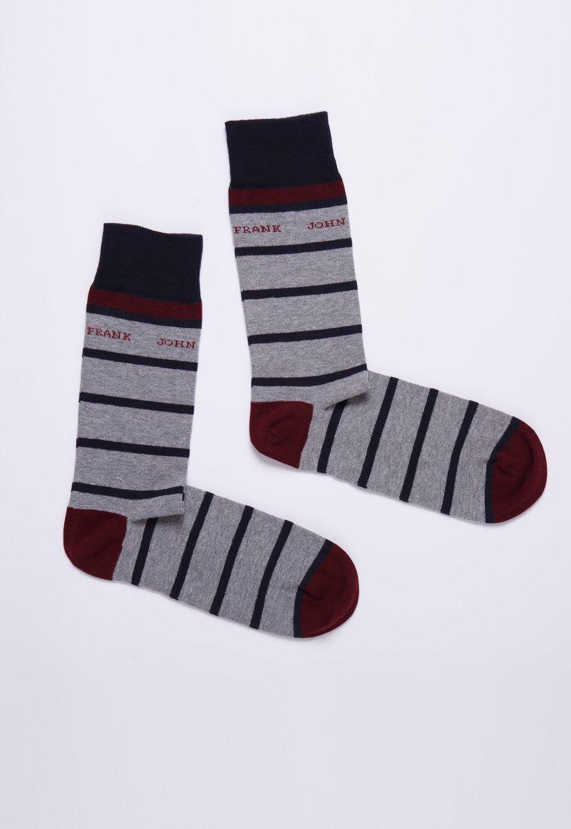 Носки JOHN-FRANK JFLSEF04-03 Серый+темно-синие полоски