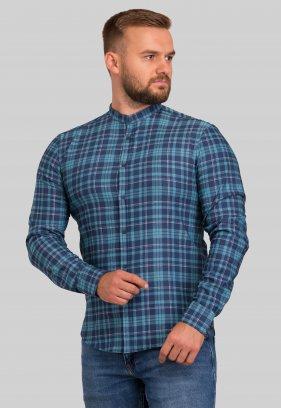 Рубашка Trend Collection 10349 Зеленый+синяя клетка V03