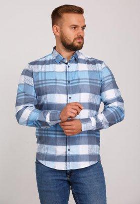 Рубашка Trend Collection 10347 Белая+небесная с серым клетка V05