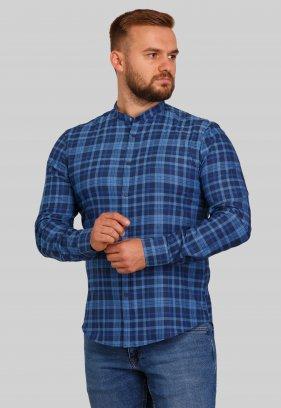 Рубашка Trend Collection 10349 Темно-синий+голубая клетка V04
