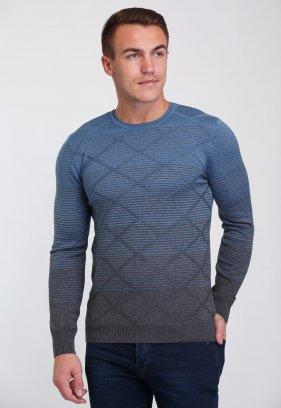 Свитер Trend Collection 0260 Серый+небесный полоска