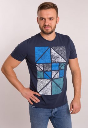 Футболка OFF Т.синий + квадраты 1051
