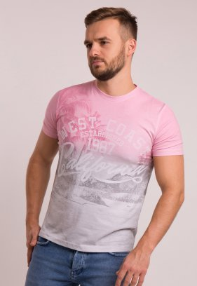 Футболка OFF 4064 Серый + розовый