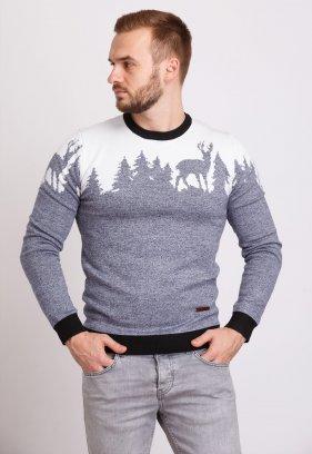 Свитер Trend Collection 9547 Серый+елки+олени