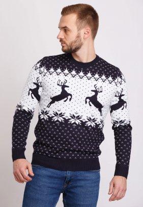 Свитер новогодний Trend Collection 19013 Темно-синий+белый+олени