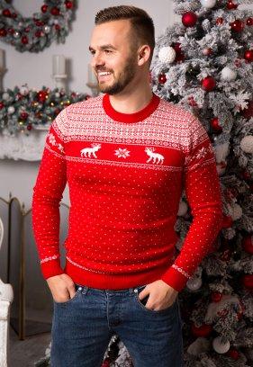 Свитер красный с оленями Trend