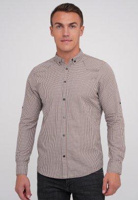 Рубашка FIGO 18213 коричневый + белая клетка (KAHVE)