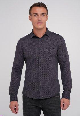 Рубашка Trend Collection BAT 4821 синий + коричневый (V04)