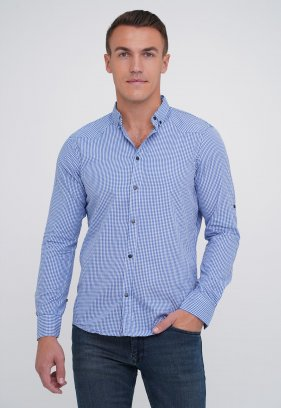 Рубашка FIGO 18213 светло-синий+белая клетка (SAKS)