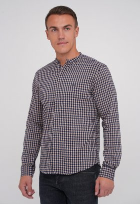 Рубашка Trend Collection 3962 бежевый+синяя клетка (V01)