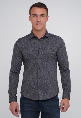 Рубашка Trend Collection BAT 4809 серый+синяя клетка (V02)