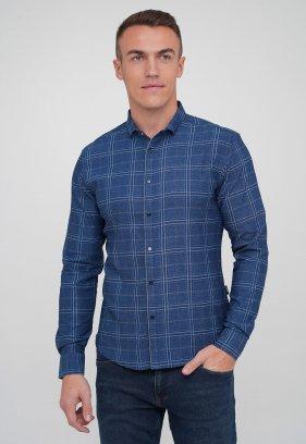 Рубашка Trend Collection 10779-2 джинсовый+клетка (V07)