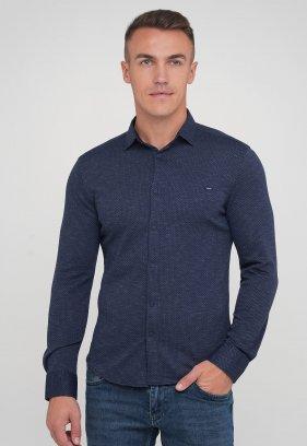 Рубашка Trend Collection 0821 Синий+темно-синий ромб (V05)