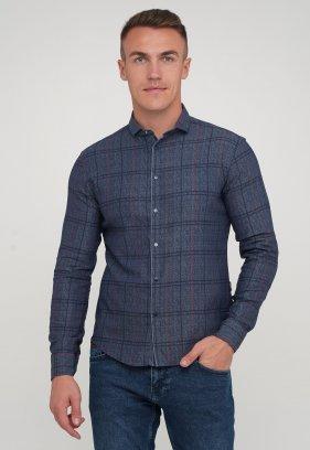 Рубашка Trend Collection 10780 джинсовый+красная клетка (V01)