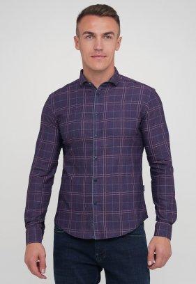 Рубашка Trend Collection 10779 бордовый+синяя клетка (V03)