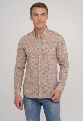 Рубашка,лен Trend Collection 20068-12 Коричневый+листья