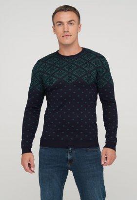 Свитер Trend Collection 9685 Темно-синий+зеленый