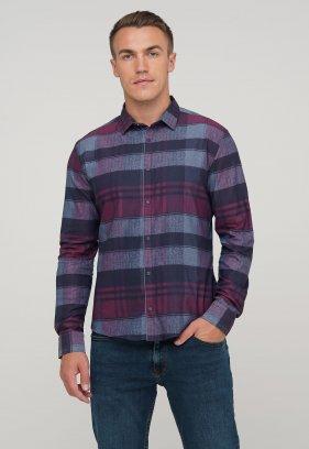 Рубашка Trend Collection 10347 Бордовый+синяя клетка V03