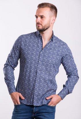 Рубашка TREND COLLECTION 0014 синий+листья