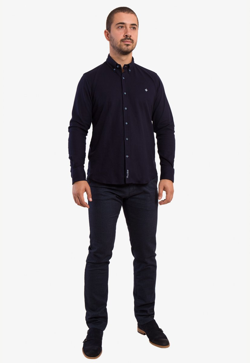 Темно-синяя рубашка Trend 2783 - Фото 3