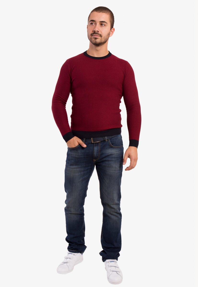 Бордовый свитер Trend 671 - Фото 3