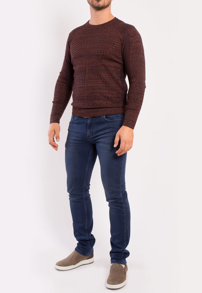Свитер коричневый Trend 6640 - Фото 3