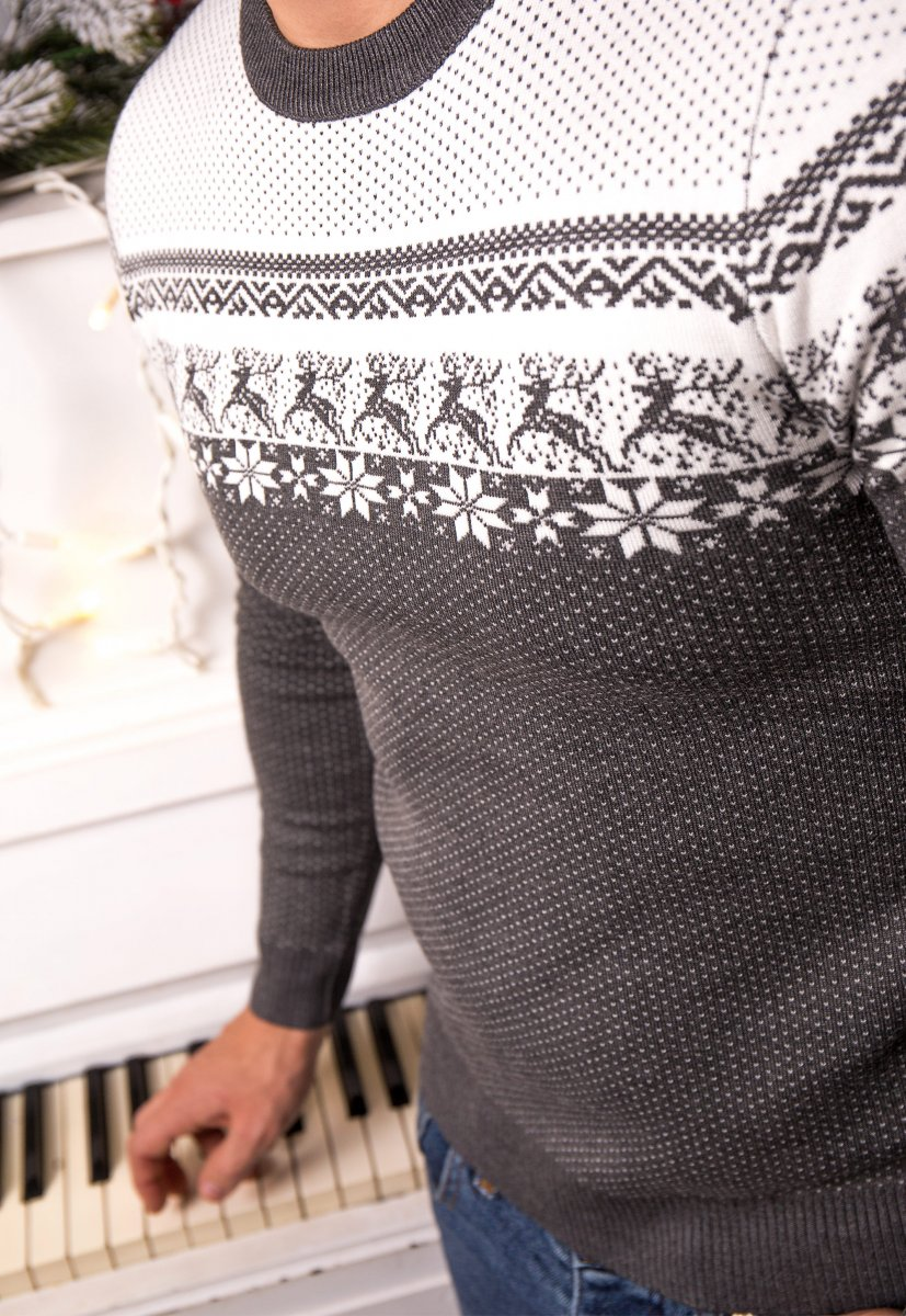 Свитер серый с оленями Trend J08 - Фото 3
