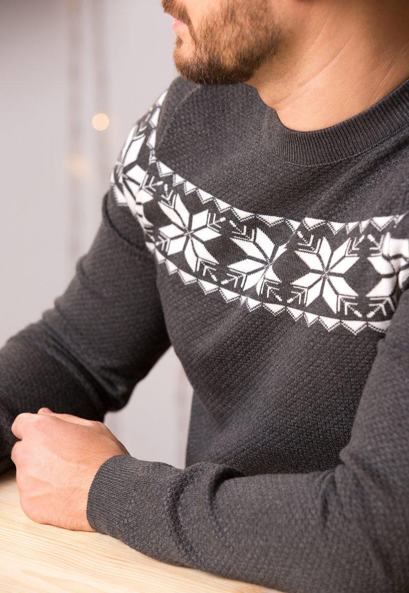 Свитер серый с орнаментом Trend 77042 - Фото 1
