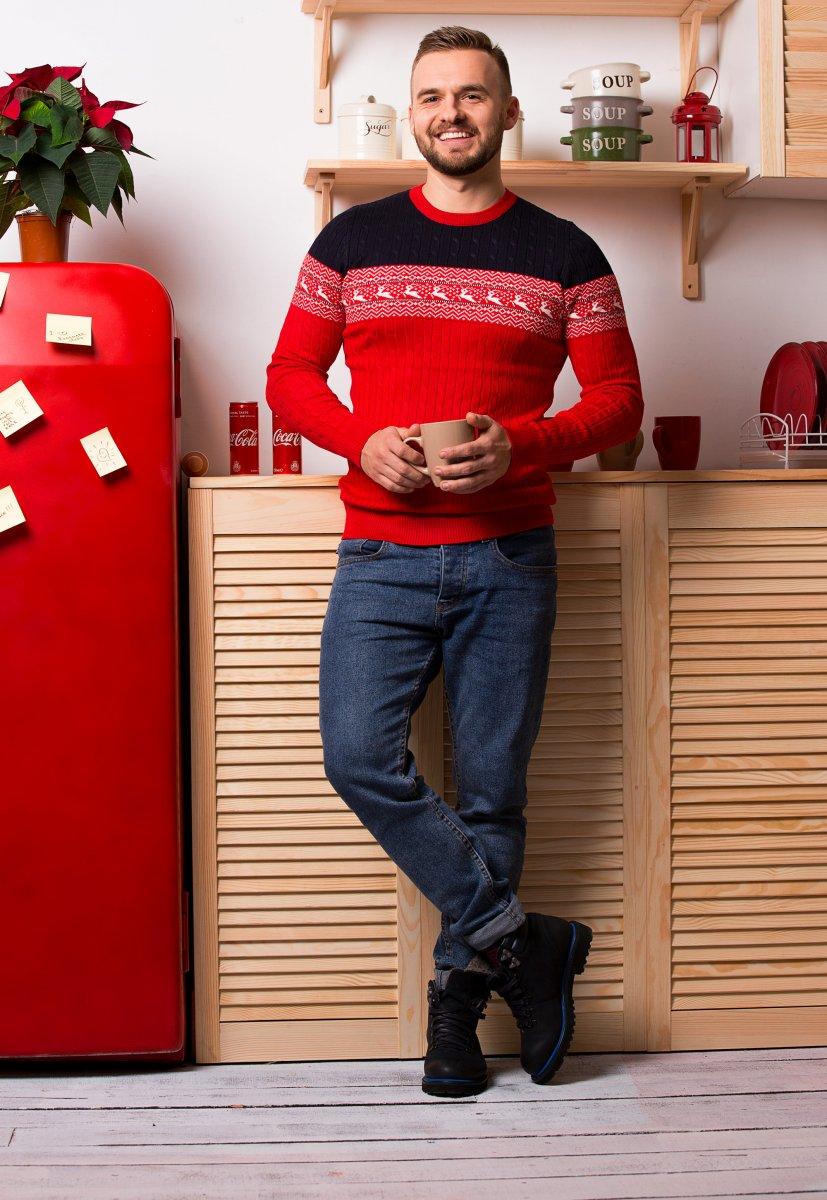 Свитер красный с оленями Trend 77043 - Фото
