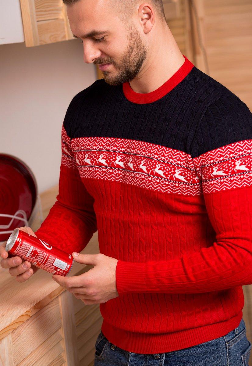 Свитер красный с оленями Trend 77043 - Фото 1