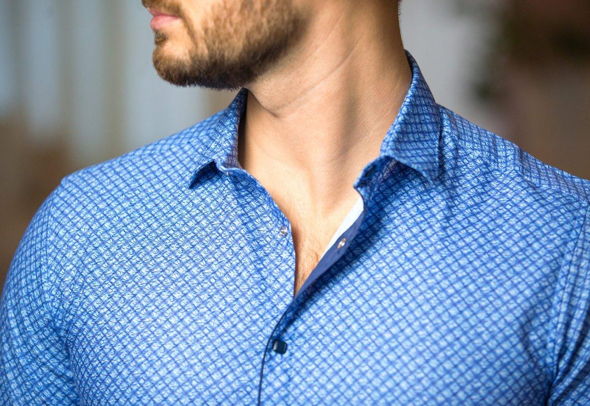 Синяя рубашка Trend 17982-05 - Фото