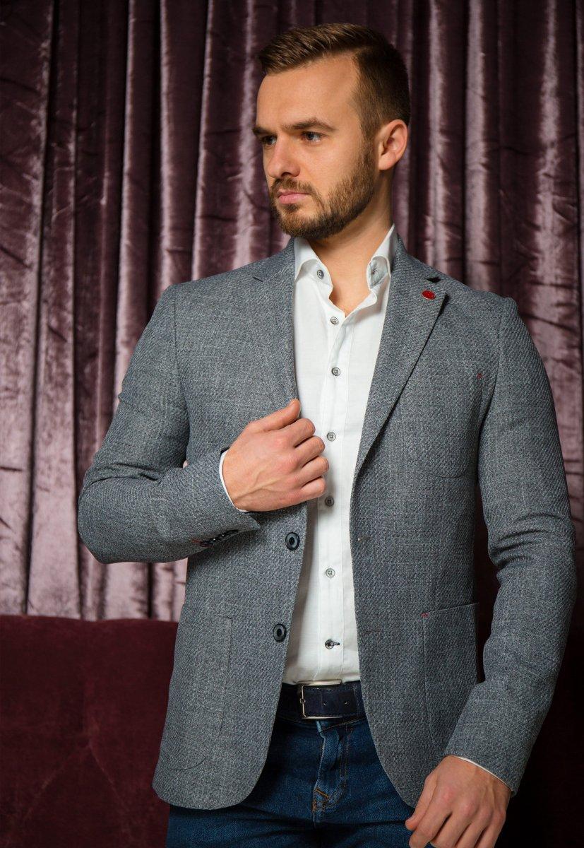 Серый пиджак TREND 9870 - Фото
