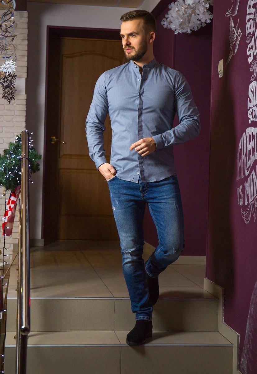 Серая рубашка Trend 02-1096 - Фото