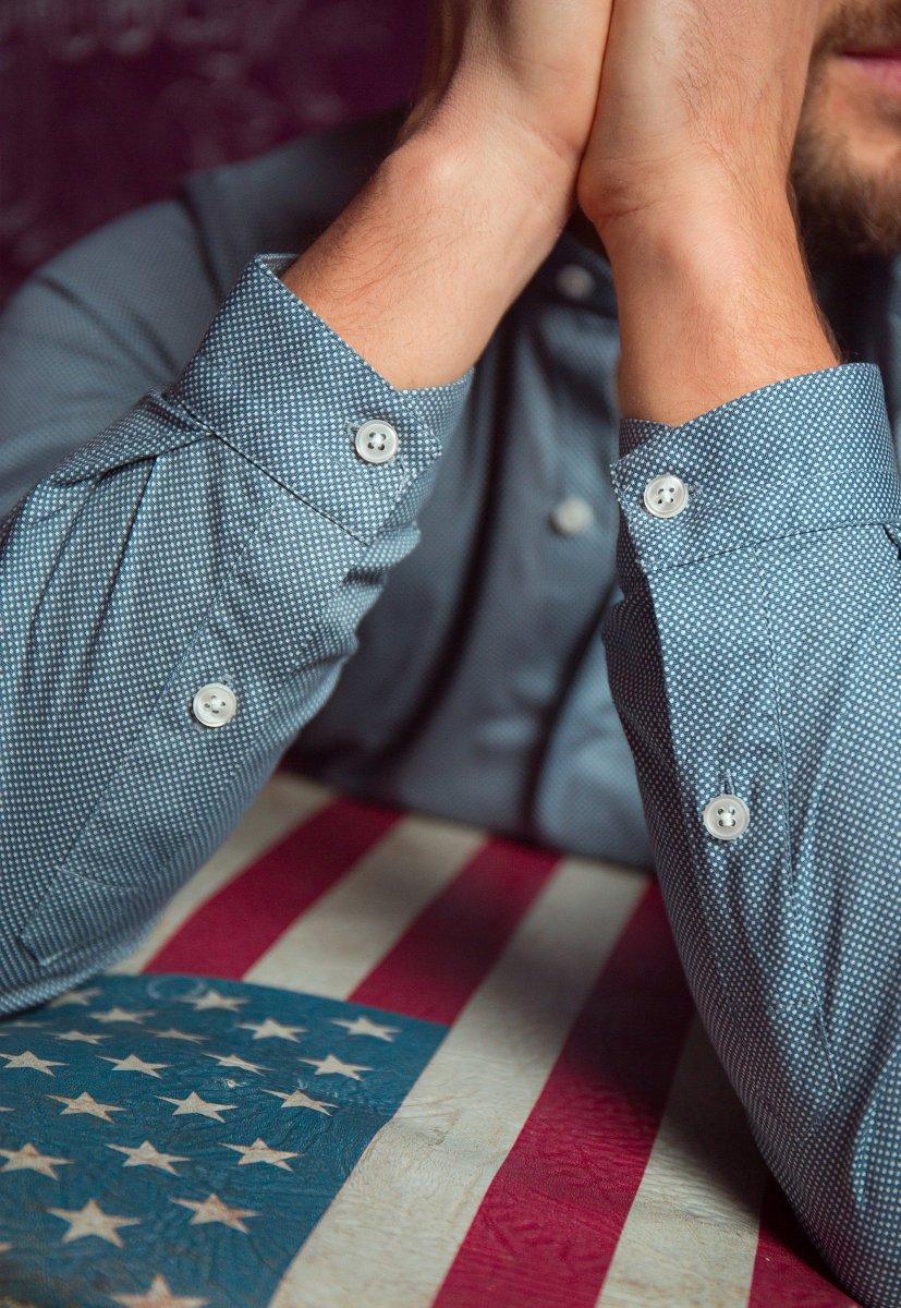 Серая рубашка Trend 02-1096 - Фото 2