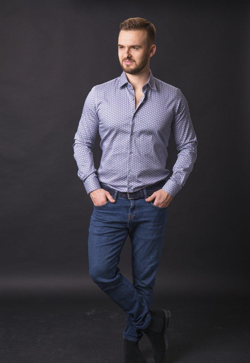 Синяя рубашка Trend 820-1128 - Фото