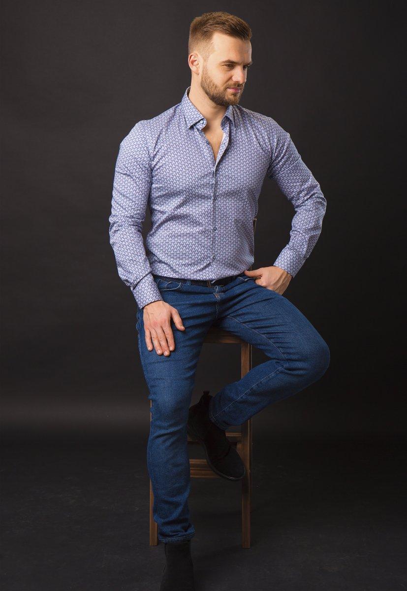 Синяя рубашка Trend 820-1128 - Фото 1
