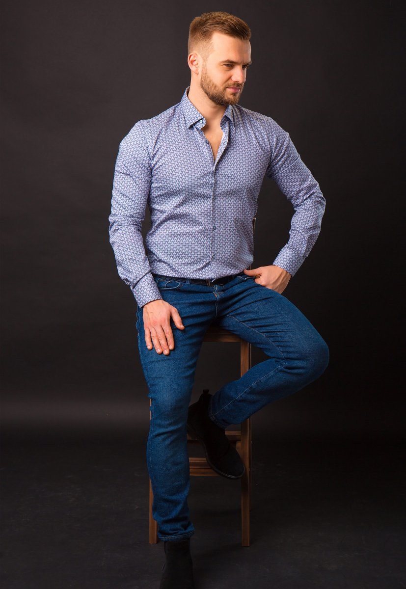 Синяя рубашка Trend 820-1128 - Фото 2