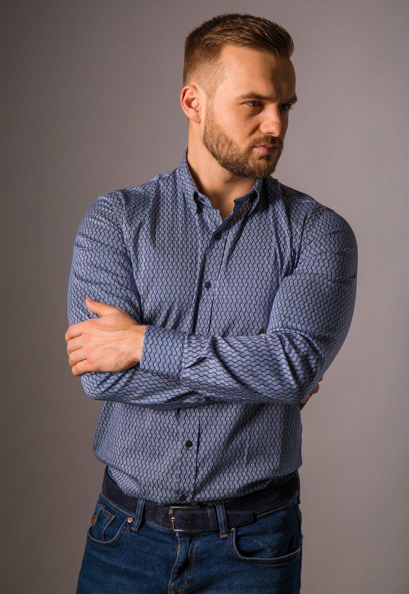 Синяя рубашка Trend 820-1129 - Фото 1