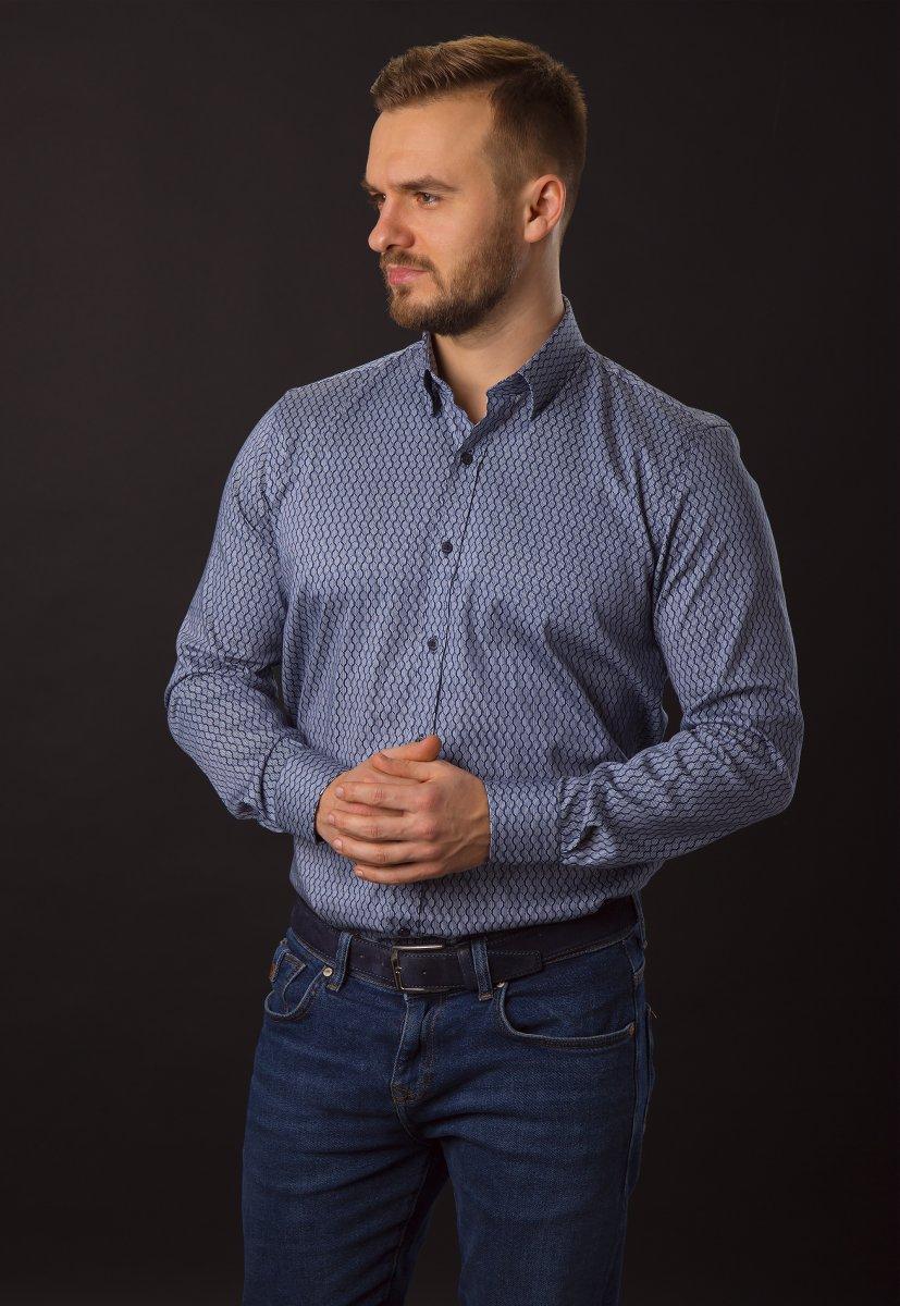 Синяя рубашка Trend 820-1129 - Фото 3