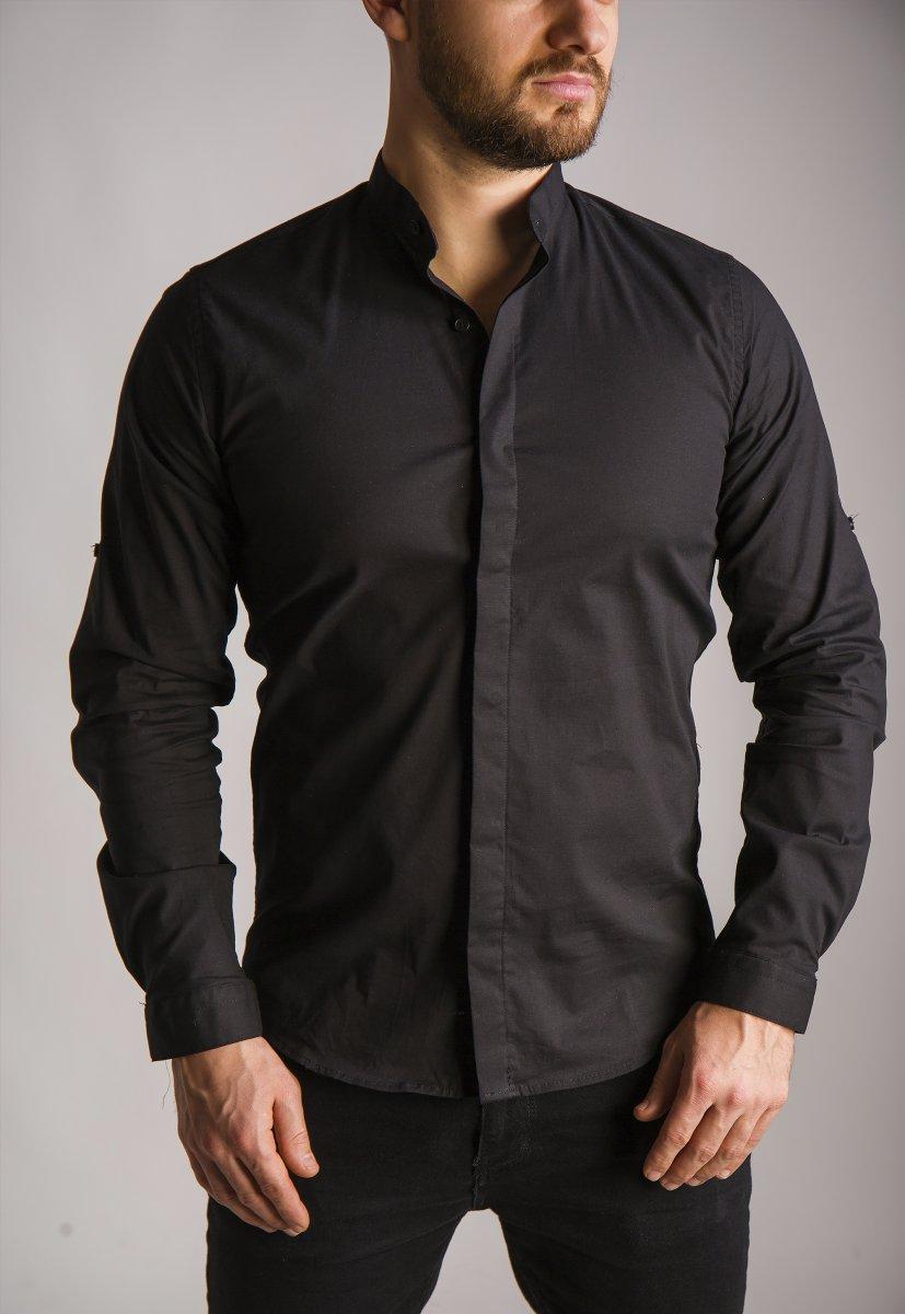 Черная рубашка Trend 02-1096 - Фото 3