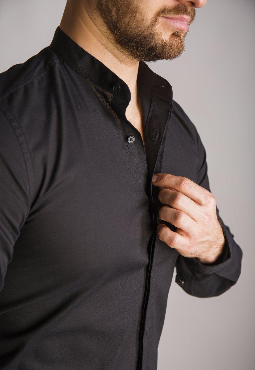 Черная рубашка Trend 02-1096 - Фото 4