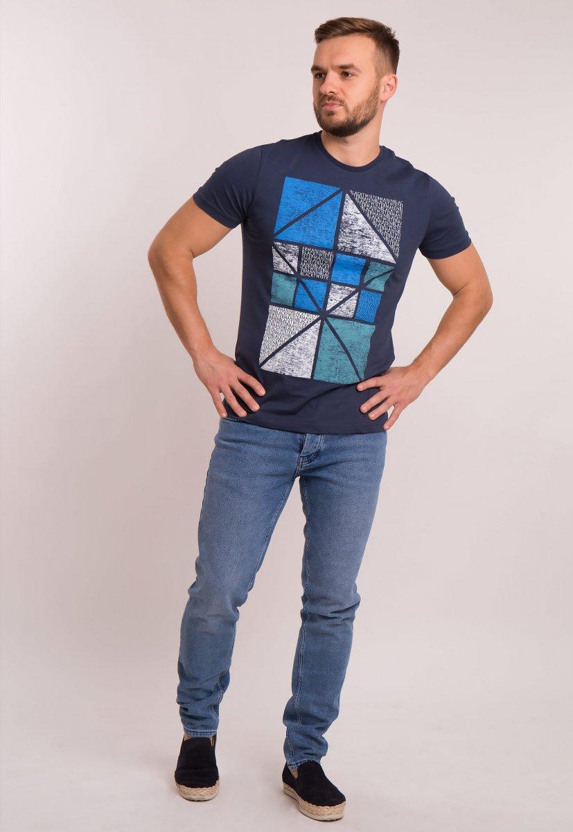 Футболка OFF Т.синий + квадраты 1051 - Фото