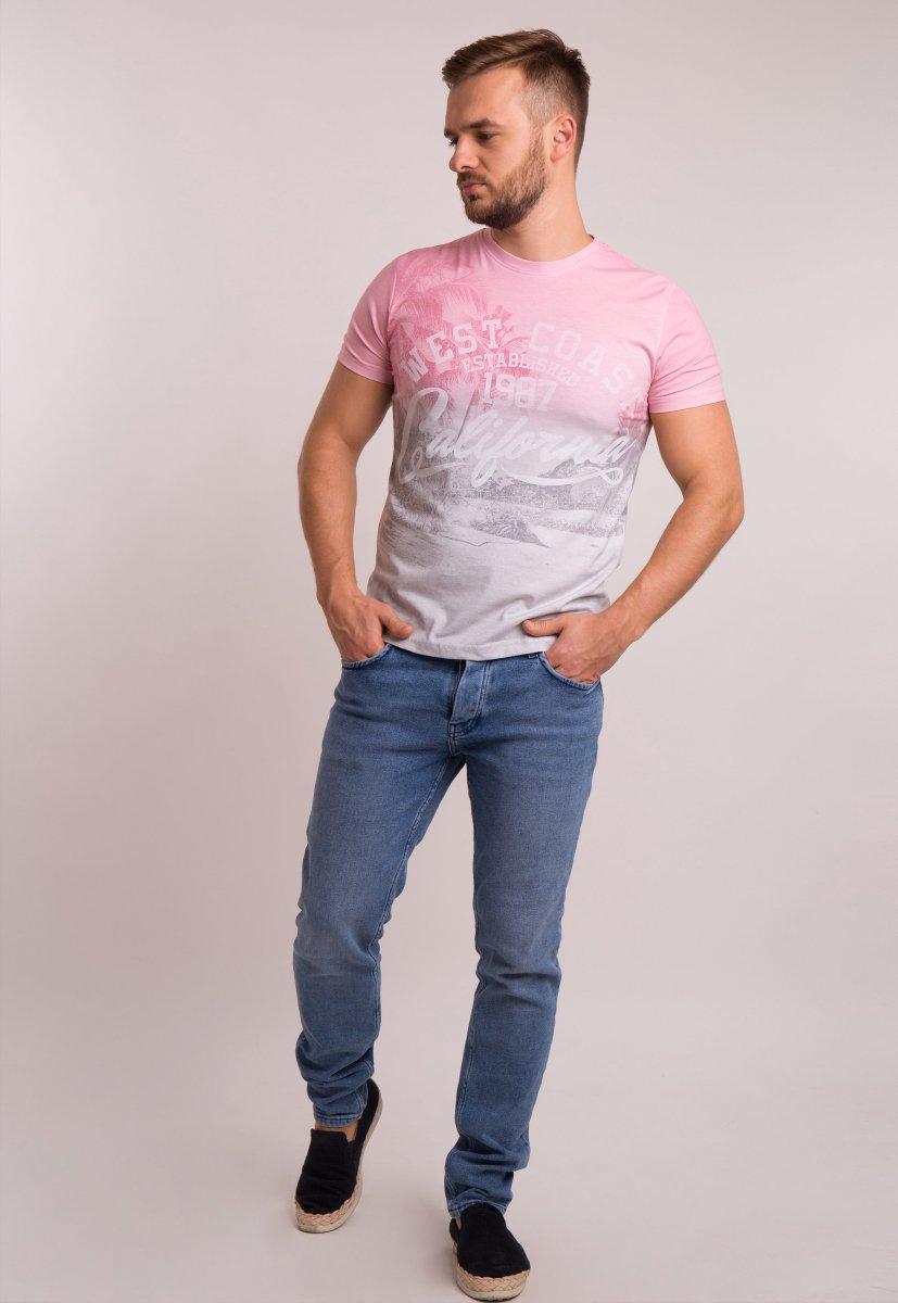 Футболка OFF 4064 Серый + розовый - Фото