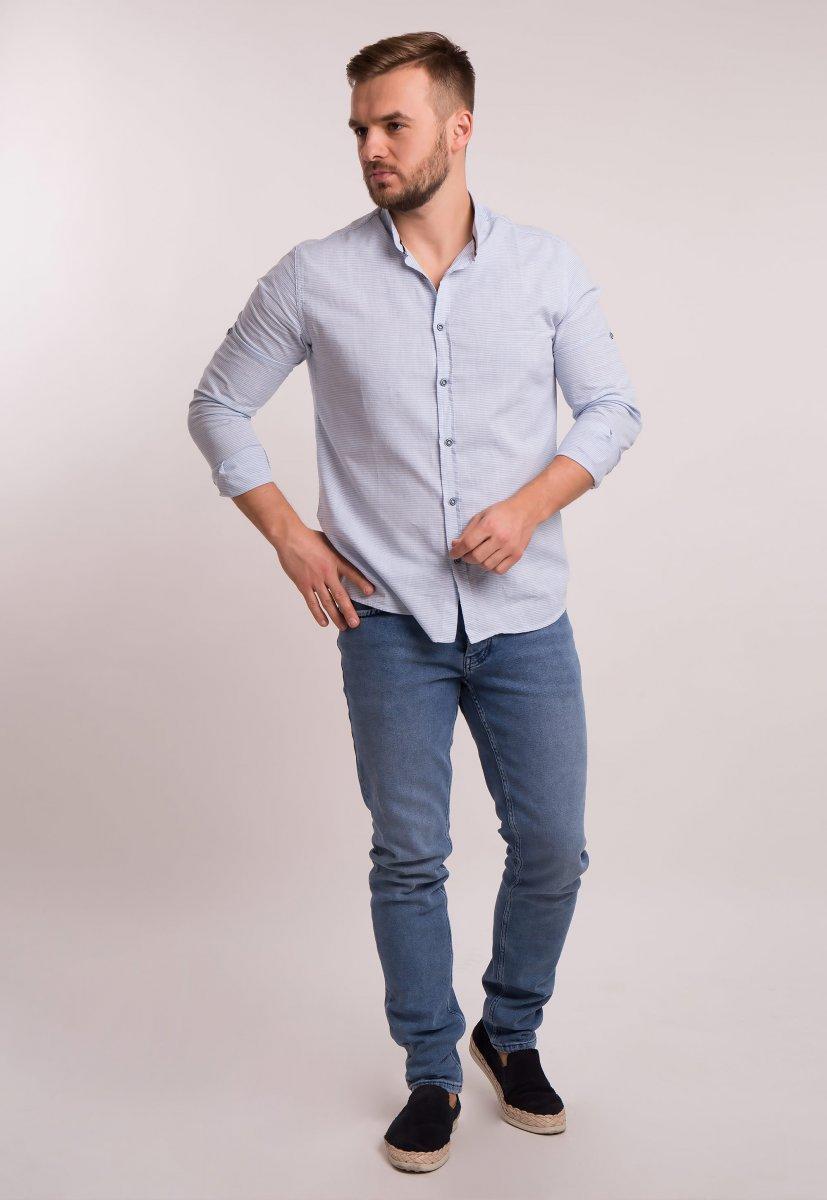 Рубашка Trend Collection 1608 Небесный + полоска - Фото