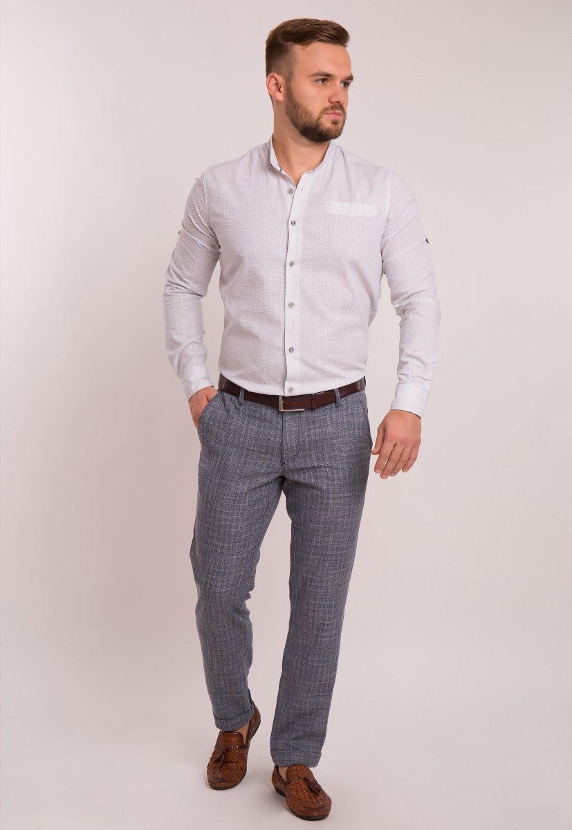 Рубашка Trend Collection 1607 Белый + серый принт - Фото