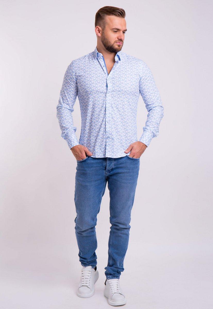 Рубашка TREND Белый + ласточки 02-1057 - Фото