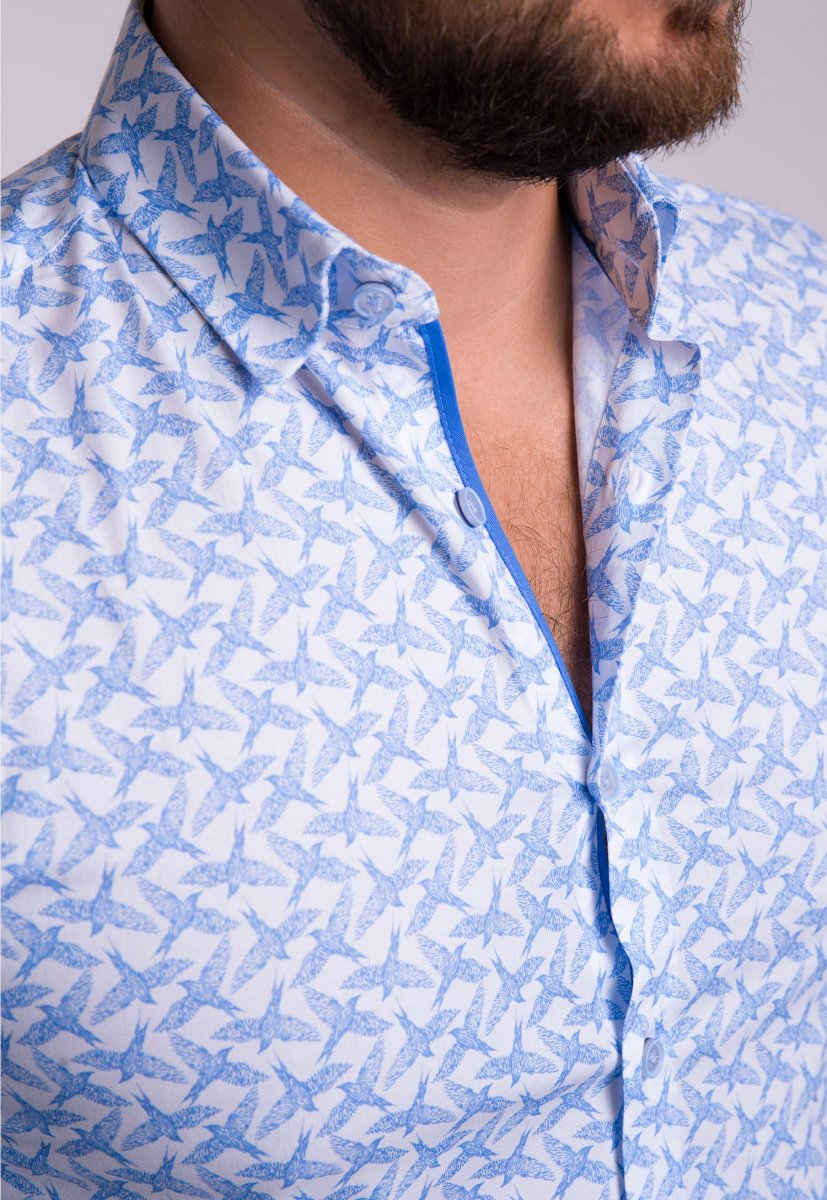 Рубашка TREND Белый + ласточки 02-1057 - Фото 1